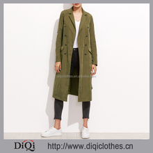 New Arrival high quality top fashion ladies Olive Green Double Breasted Belted Trench Coat