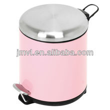 2015 pink color foot pedal metal soft close pedal bin