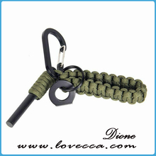 Multi-functional outdoor tool nylon cord survival keychain with fire flint and scrape