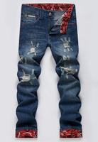 Wholesale fashion design boys jeans vintage style stright hole beggar fancy dark jeans for men