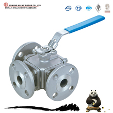 China manufacture manual stainless steel flange 3 way ball valve
