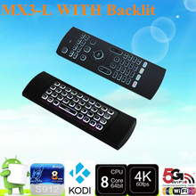2017 Brand new MX3-L 2.4g Air Mouse Backlit wireless keyboard and mouse with high quality Somatosensory remote control