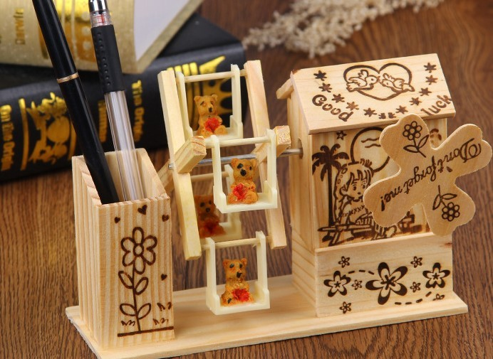 pen holder with music box wood crafts customization business gift custom