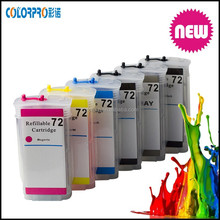 Ink cartridge for hp t1102/t1103/t1104 refillable ink cartridge for HP 72