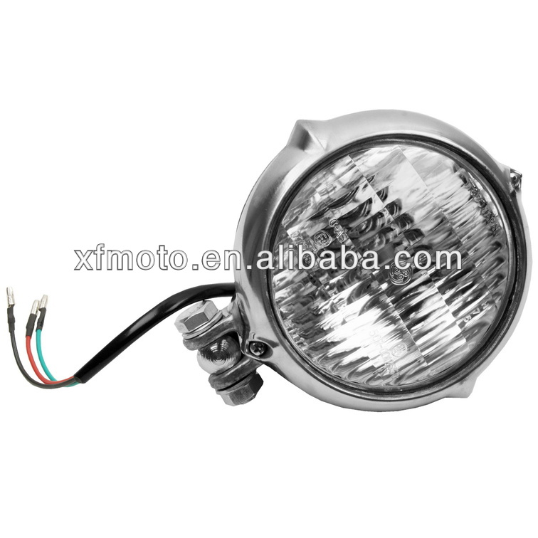 Motorcycle CHROME Bates Style HeadLight for Bobber Chopper Softail Springer dyna