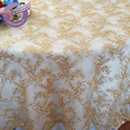 TX00072 Fancy wedding round gold net embroidery tablecloth