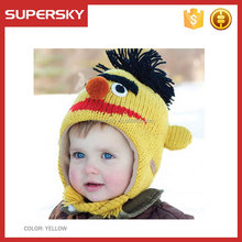 C849 Kids Peruvian Beanie Hat Children Animal Crochet Knit Hat with Earflap Pattern Handmade Yellow Monkey Beanie for Toddler