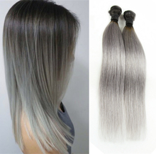 3Pcs Lot 300g Ombre Silver Gray Human Hair Weave Ombre Grey Brazilian Hair Straight Ash Grey Hair Weaving for Braiding for Glue