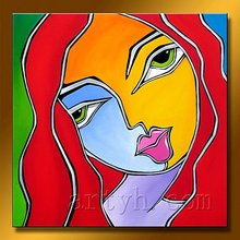 Hot Sell Handmade African Lady Oil Painting