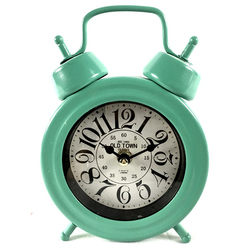 Metal table clock green color China fine for wholesale