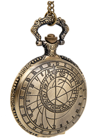 Large Vintage Compass Carved Flip-Open Cover Pocket Watch Necklace