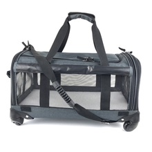 Custom airline approved wheeled pet dog carrier on castor wheels