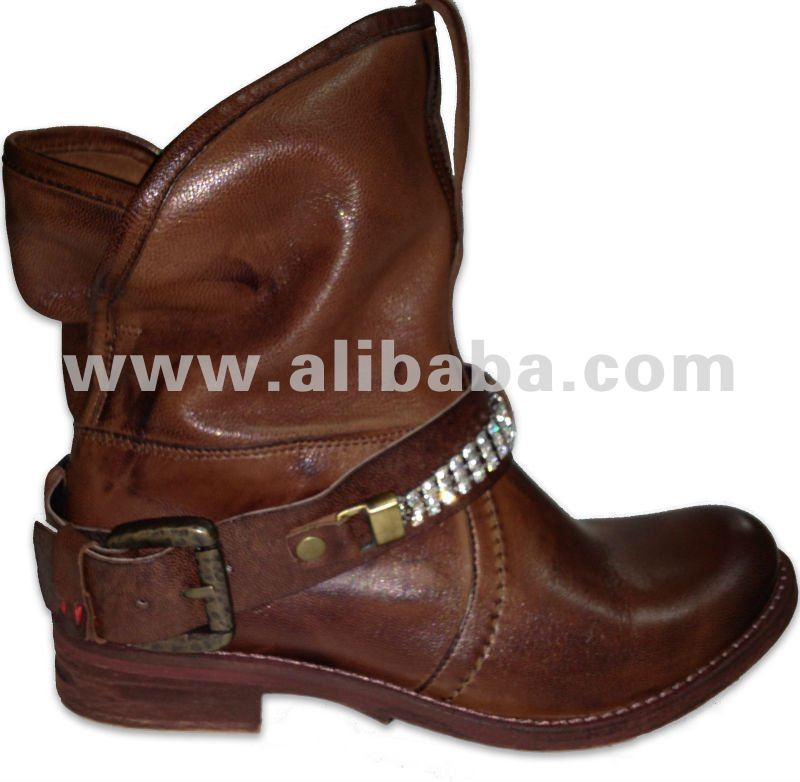 Fashion Boots cow leather with rhinestones latest design Italian style
