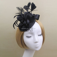 New Design Satin Black Feather Fascinator Hair Accessories For Girls
