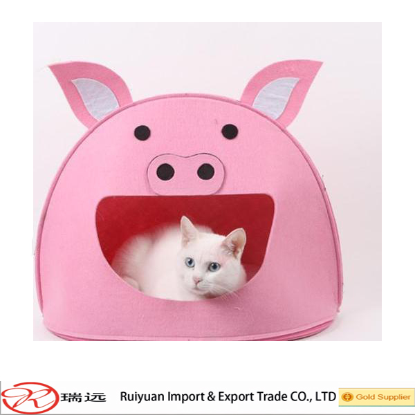 New arrival good quality house soft felt pet bed cartoon Pink pig house