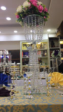 Factory Popular crystal table chandelier flower stand centerpieces for wedding table