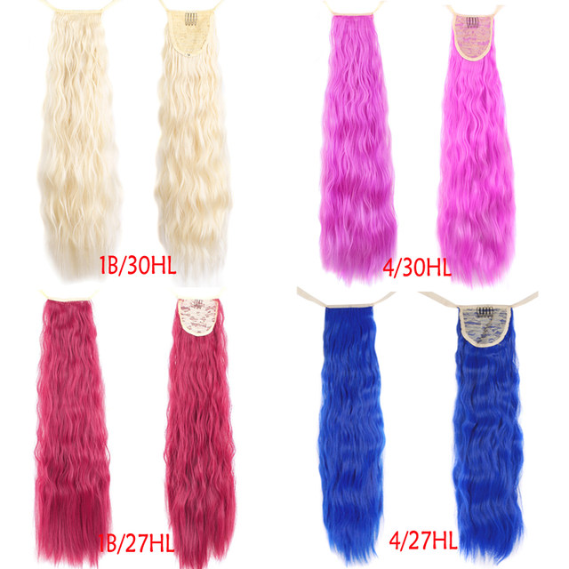 Online Shop 24 Long Curly Ponytail For Women Blonde Pink Clip In