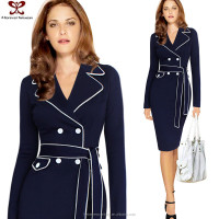Europe America Autumn Winter Elegant Pencil Dress New Model Girl Designer one Piece Dress Western, Coat Style Dress