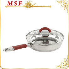 MSF-L3296 22*6cm deep fry pan dessini double handle fry pan red silicon handle