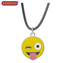 Promotional wholesale custom enamel emoji pendant necklace with PU rope