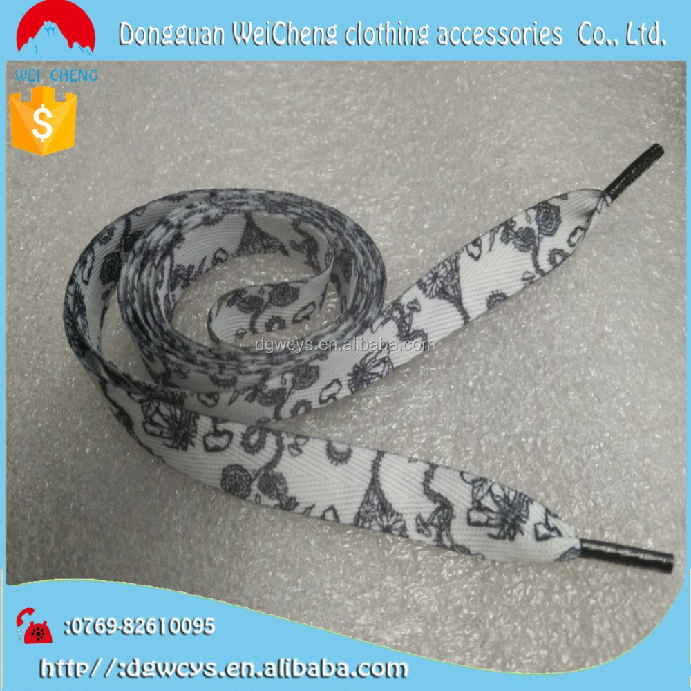 Hot selling colorful printed shoe lace with clips /high quality printed shoelace