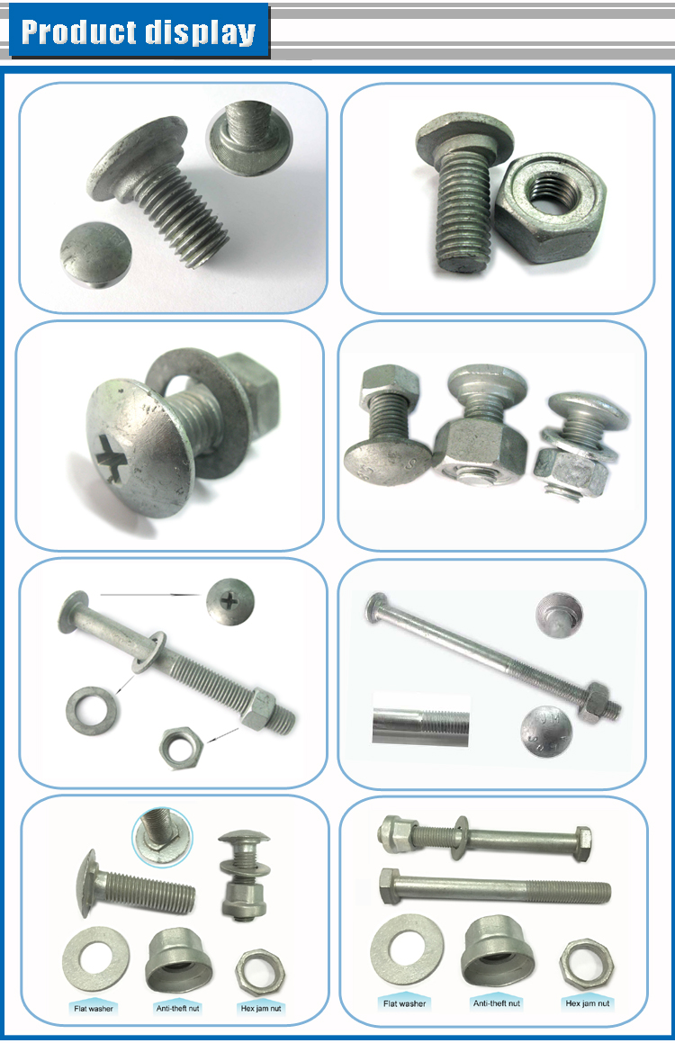 Round head highway long guardrail bolts with nuts and washers