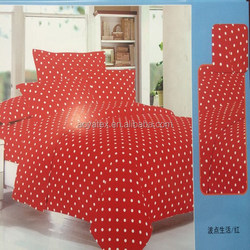 round dot and red background adult big size 75gsm 100% polyester microfiber bedding sets