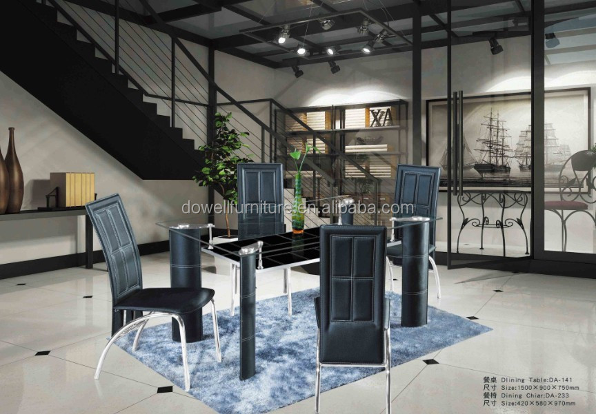 Modern economy glass two layers dining table set living room and chair