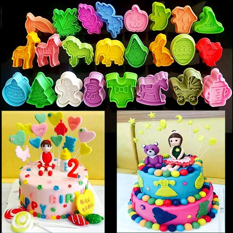 24 Style/set Animals Christmas Spring Plastic Cake Tool Fondant Cake Decorating Sugarcraft Tools Biscuit Cookie Cutters