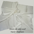 White pure silk satin scarf for dyeing