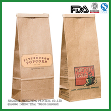 Wholesale cheap biodegaradable custom printing coffee brown paper bags with your own logo
