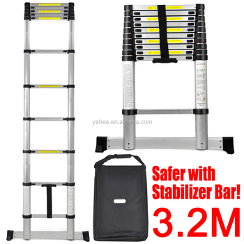 3.2m Extendable Foldable Telescopic Aluminium Ladders With Bar