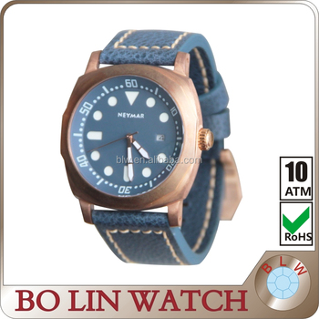 sapphire glass Militarty CuSn8 Bronze Watch Italy Leather Strap 500m diving