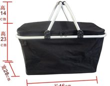 Double handles collapsible shopping basket