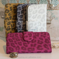 Leopard Leather Suede Wallet Case Cover Card Holder for iPhone 5c 5 5s