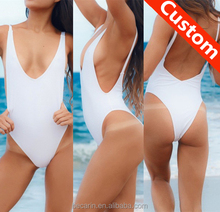 custom deep v plunge high leg high cut one piece swimsuit backless open sexy photo bathing suit