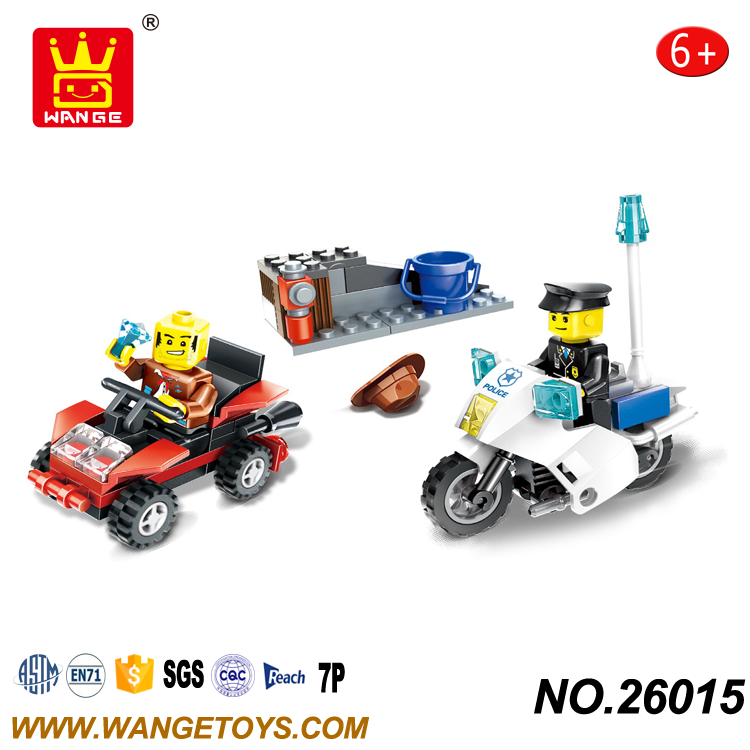 Low Price Overstock Small Various Styles Hot Sale Diy Police Chase Car Brick toys