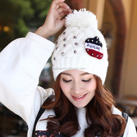 Korean style colorful knitted beanie hats fashion ladies knit cap women pompon hats for wholesale