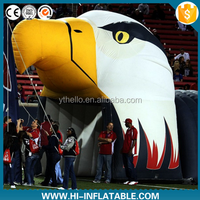 Customized inflatable eagle head mascot tunnel, inflatable entrance tunnel
