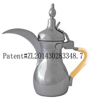 stainless steel arabic dallah coffee pot with coffee color silicone handle