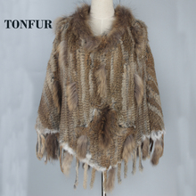 Hot Basic Match Styles Knitted Rabbit Fur Poncho Shawl With Fur Tassels and Genuine True Raccoon Fur Collar