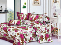 flower designs 120gsm 100% polyester fabric brushed very soft 3d printed 3 pieces bedsheet /bedding sets/ by fabric factory