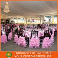 Newest Beautiful Pink Organza Ruffles Wedding Chair And Table Covers