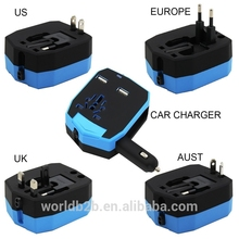 Universal All in One Worldwide Charger Travel Power Plug Wall AC Adapter with Dual USB Ports for US/EU/UK/AU and Car Charger