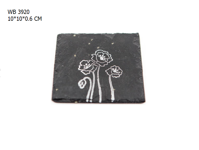 Handcrafted slate coasters printing flower custom placemats and coasters