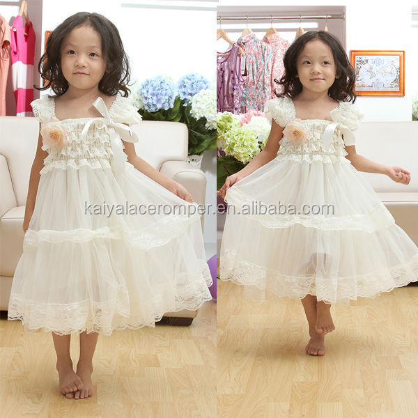 Hot Sale White Lace Fashion Wedding Party Frock 12 Year Girl Without Dress