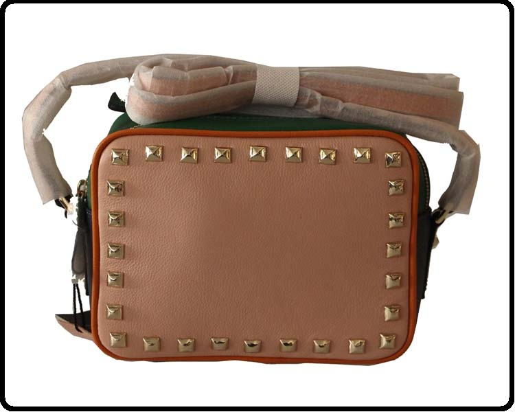 Fashion women cow leather shoulder bag with studs