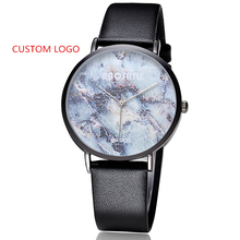 Customized Your Own Watch Dial Marble Face OEM Stone Wrist Watch Multi-color Leather Band Personal Brand Watch