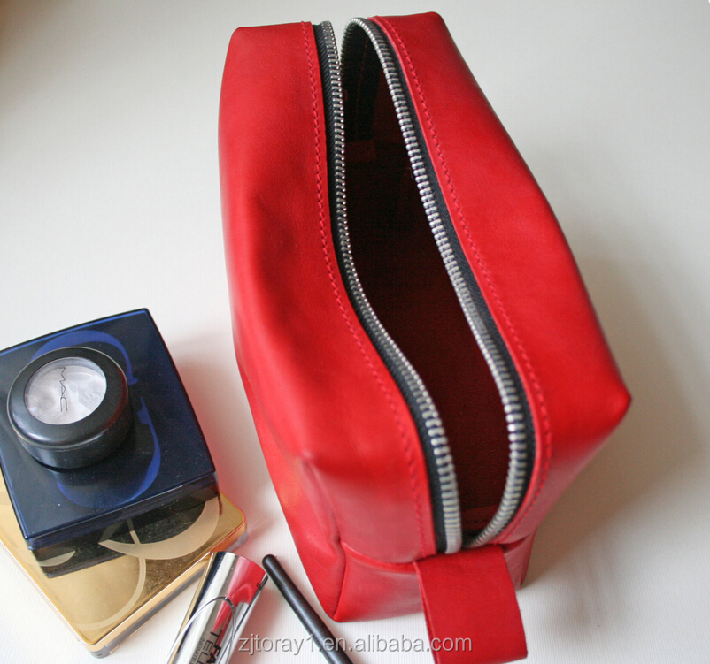 Red Custom PU Leather Cosmetic Bag Toiletry Bag