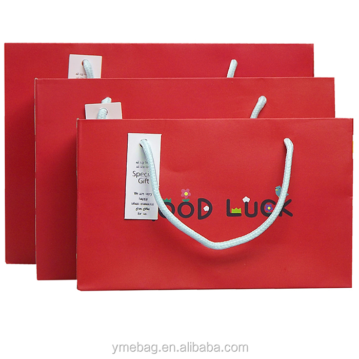 Hot selling red good luck paper gift bag for Christmas promotion